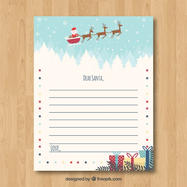 Cute Christmas Letter Template Free Vector  Christmas Letter Templates Free