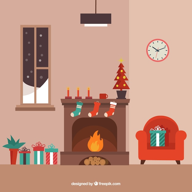 Cozy Living Room Vector Illustration: Fireplace Vectors, Photos And PSD Files