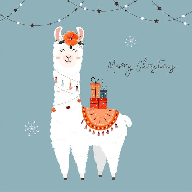 Llama Christmas.Cute Christmas Llama Vector Premium Download