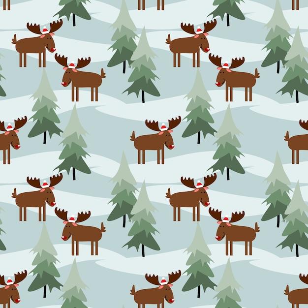 Cute christmas moose seamless pattern. Vector | Premium ...
