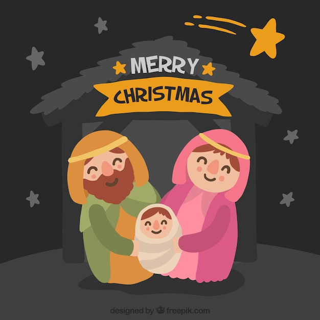 Cute christmas nativity scene