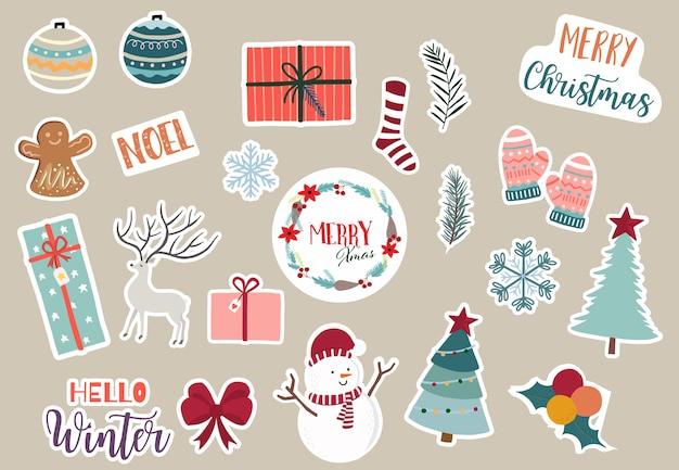 Bộ sưu tập đối tượng Giáng sinh dễ thương với ông già Noel, cây thông Noel, tuần lộc, quà tặng, bông tuyết Premium Vector