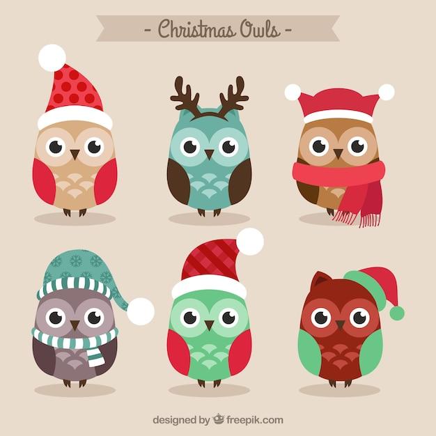 Cute Christmas Owls Free Vector