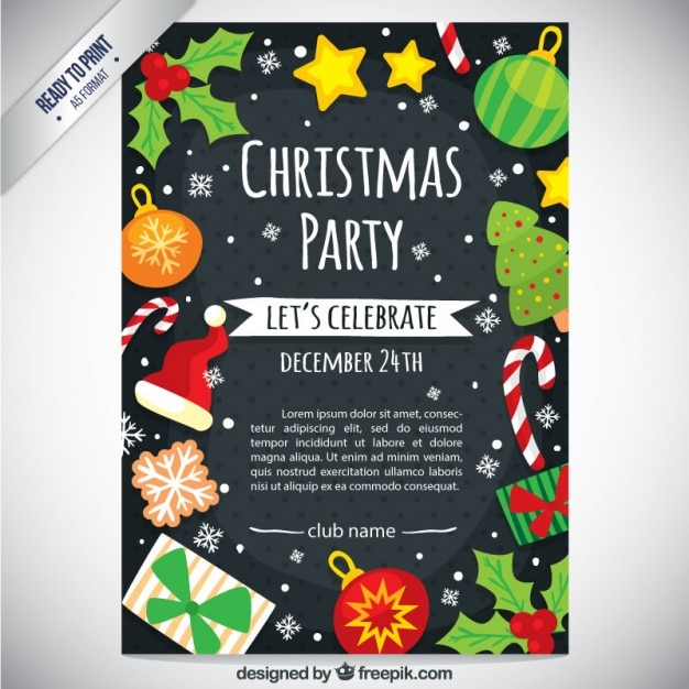 Christmas Party Flyer.Cute Christmas Party Flyer Vector Free Download