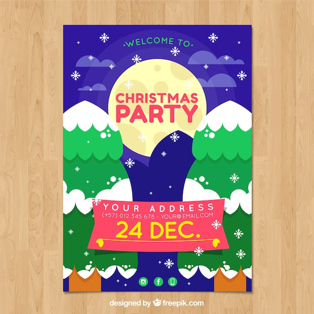 Cute christmas party poster