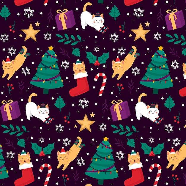 動物とかわいいクリスマスパターン Premiumベクター