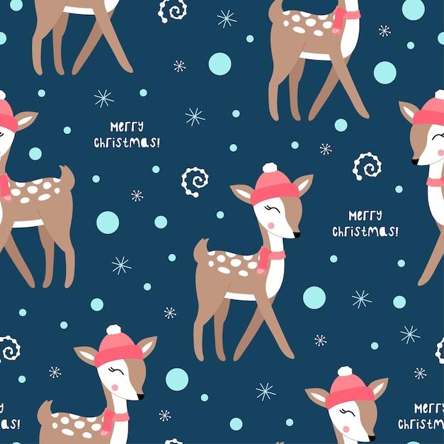 Deers와 귀여운 크리스마스 패턴입니다. 프리미엄 벡터
