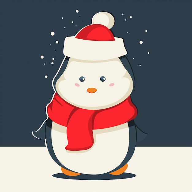 Cute christmas penguin in santa claus hat and in a red scarf. vector cartoon animal character. winter illustration. Premium Vector