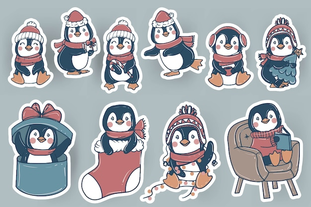 Cute christmas penguin stickers doodle hand drawn illustration Free Vector