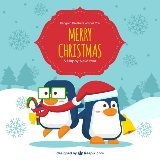 Cute christmas penguins background