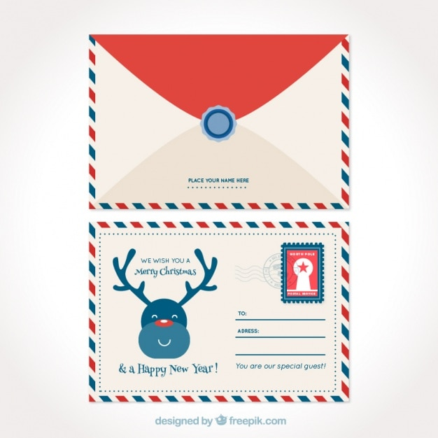Cute christmas postcard with nice reindeer and envelope