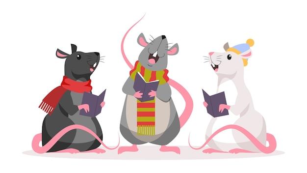Милая рождественская крыса. животный персонаж в шляпе санта-клауса. 2020 год крысы. иллюстрация в стиле Premium векторы