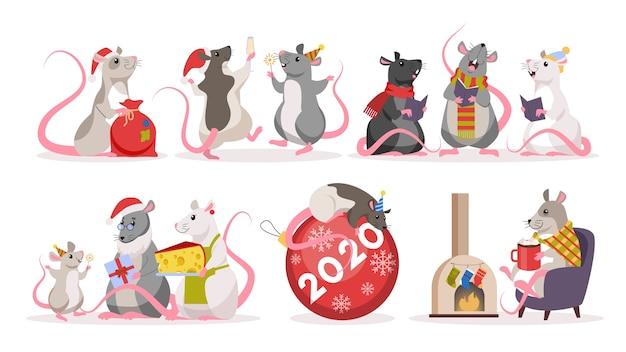 Милый рождественский набор крыс. животный персонаж в шляпе санта-клауса. 2020 год крысы. иллюстрация в стиле Premium векторы