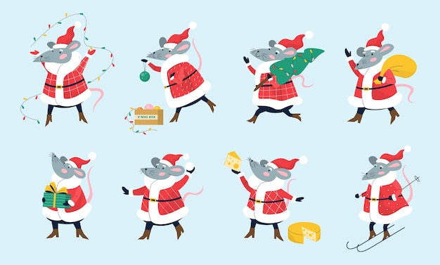 Милая рождественская крыса, держащая праздничный материал. Premium векторы