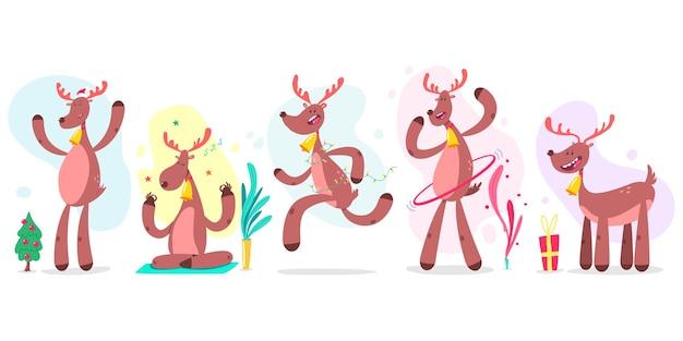 귀여운 크리스마스 순록이 만화 캐릭터 흰색 배경에 설정합니다. 프리미엄 벡터