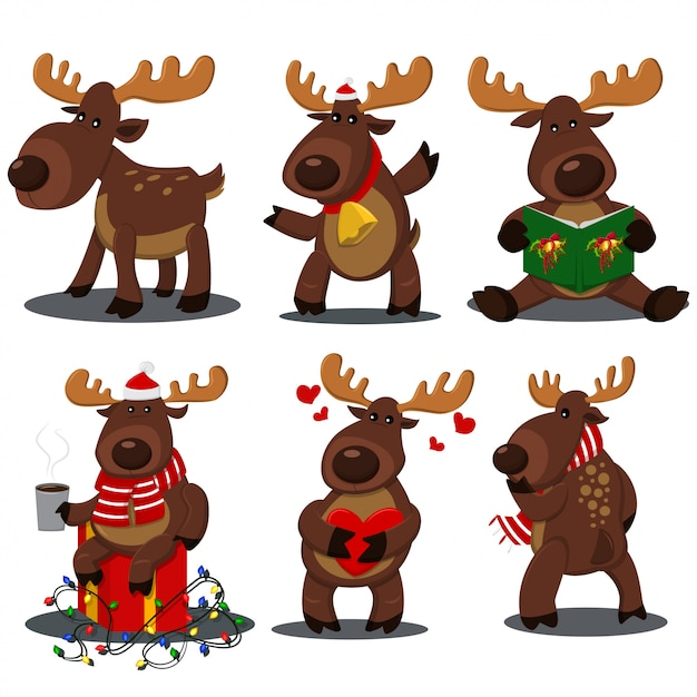 Cute christmas reindeer in different poses. vector cartoon deer characters set Premium Vector