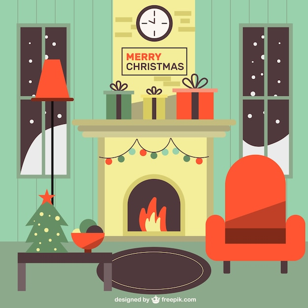 Cute Christmas Room With Christmas Decorations Vector