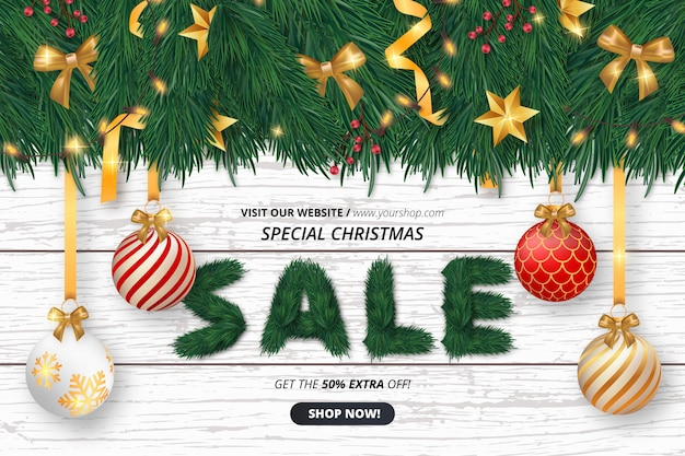 Cute christmas sale background with objects Free Vector