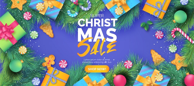 Cute christmas sale banner template with gifts Free Vector