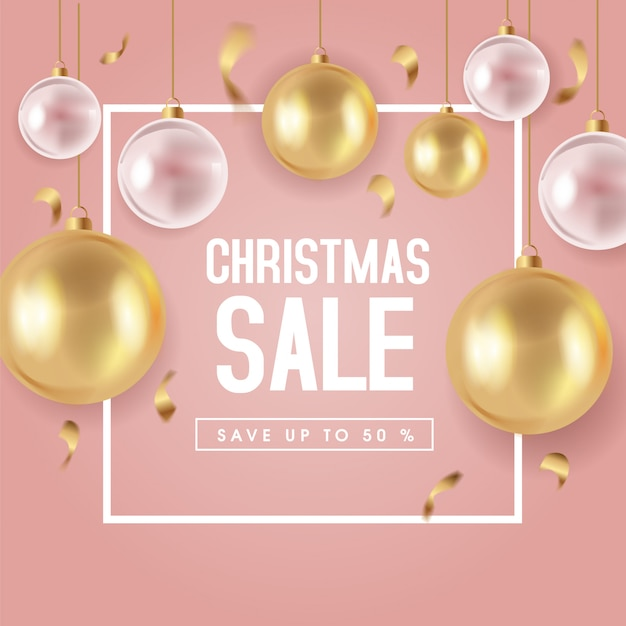 Cute christmas sale banner template Premium Vector