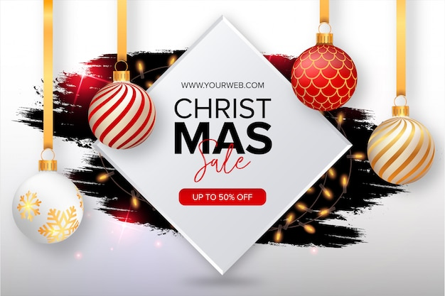 Cute christmas sale banner with splash Free Vector