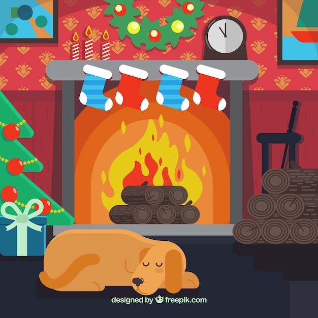 Download Vector - Cute christmas scene background with