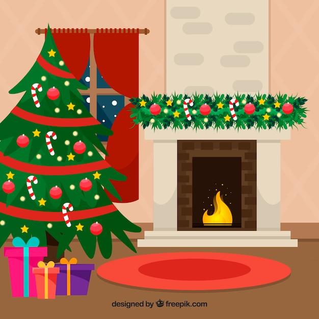 벽난로와 귀여운 크리스마스 장면 배경 무료 벡터