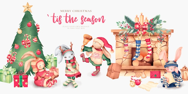 Cute christmas scene with lovely characters Free Vector