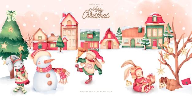 冬の町とキャラクターのかわいいクリスマスシーン 無料ベクター