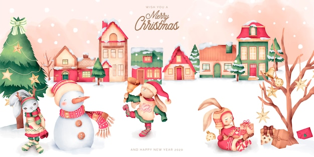 Cute christmas scene with winter town and characters Free Vector