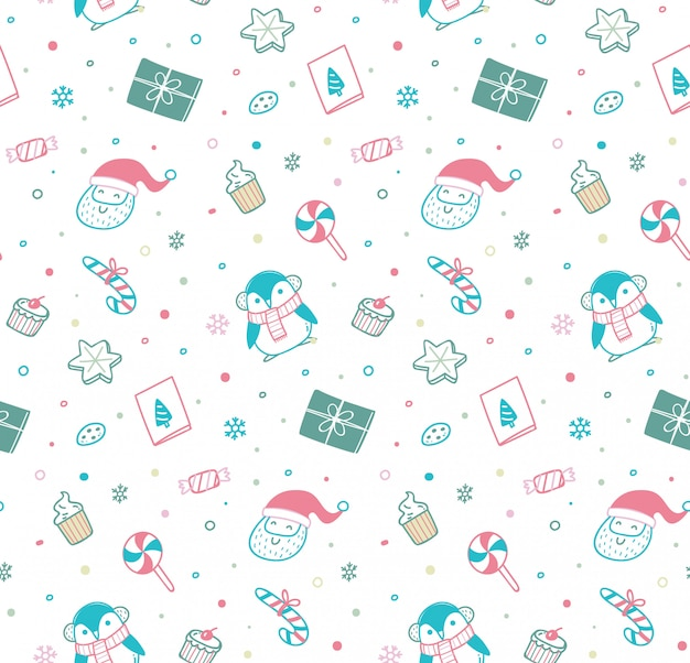 Cute christmas seamless pattern in doodle style Premium Vector
