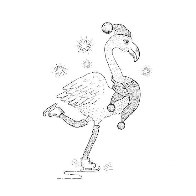 かわいいクリスマススケートフラミンゴ、スケッチ落書き鳥。 Premiumベクター