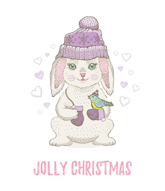 Cute christmas sketch rabbit with bird. merry xmas and new year cartoon watercolor vector illustration. Premium Vector