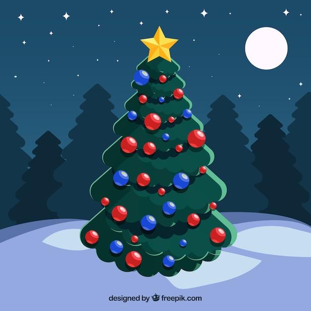 cute christmas tree and night sky free vector