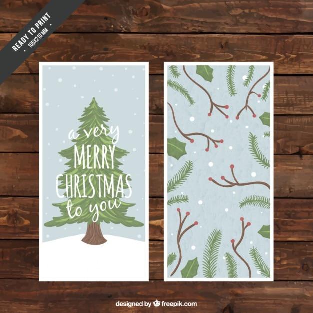Cute christmas tree card Premium Vector