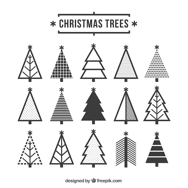 Cute Christmas Tree Icons Vector Free Download