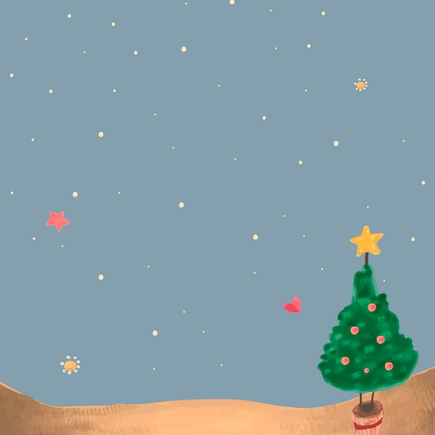 Cute christmas tree at night background Free Vector