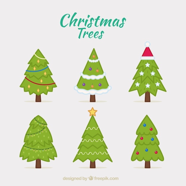 Cute Christmas Trees Collection Premium Vector