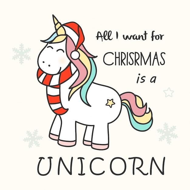 cute christmas unicorn premium vector - Christmas Unicorn