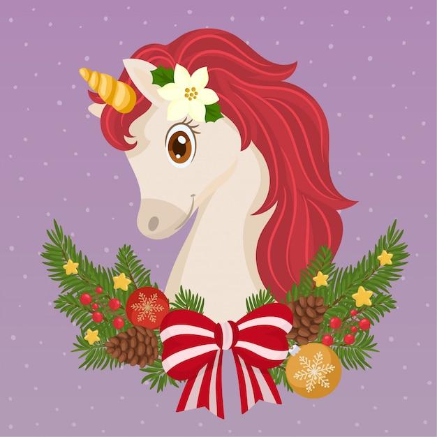 Cute christmas unicorn Vector | Premium Download (626 x 626 Pixel)