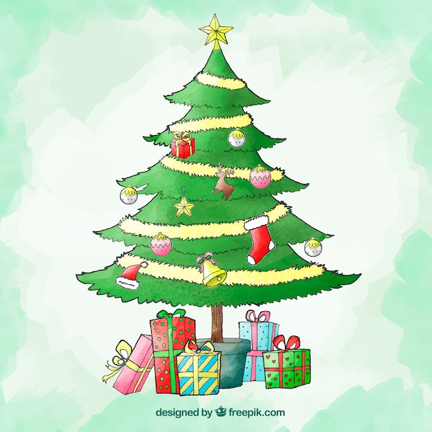 Cute Christmas Watercolour Background With A Christmas Tree Free Vector