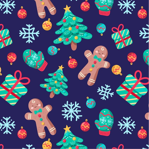 Cute Chritmas Pattern with gingerbreads and christmas trees Free Vector