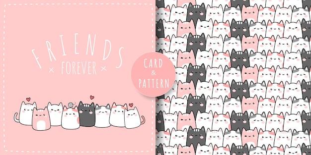 Милый пухлый кот котенок друзья мультфильм каракули плоский дизайн розовая пастельная тематическая карта и бесшовный фон Premium векторы