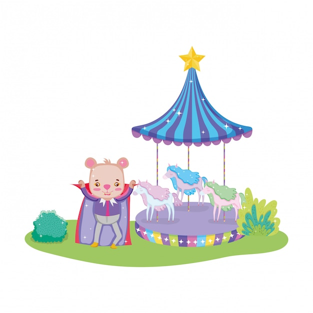 Cute circus bear with layer and carousel Premium Vector