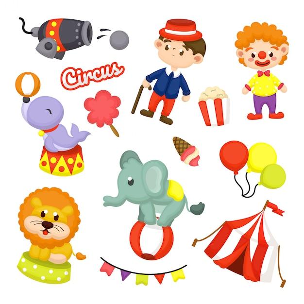Cute circus element collection Premium Vector
