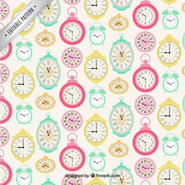 cute clocks pattern vector free download
