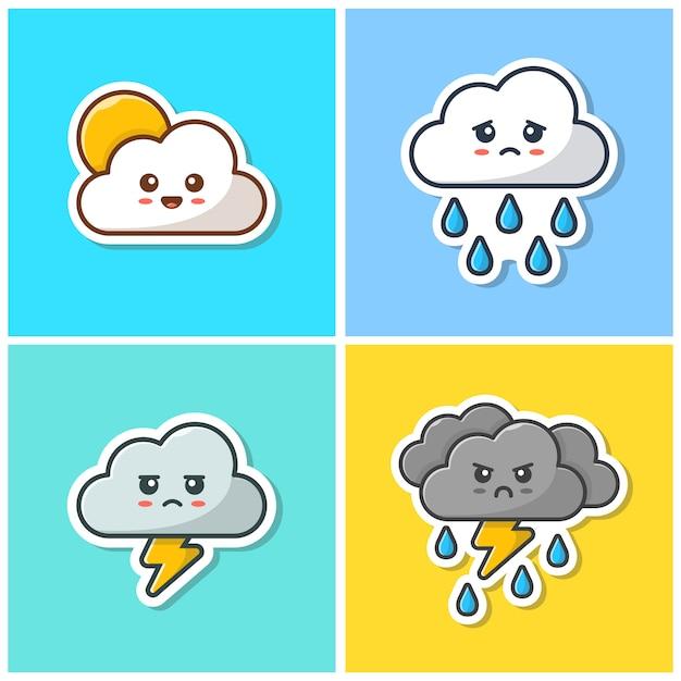 Cute cloud emoticon collection  icon . kawaii cloud emoticon sticker, weather icon  isolated Premium Vector