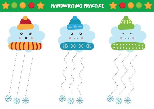 Cute clouds in winter caps. handwriting practice for kids. Premium Vector