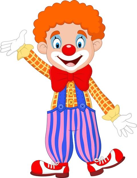 Cute clown cartoon Premium Vector