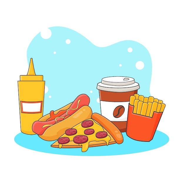 Cute coffee, pizza, hotdog, french fries and mustard sauce icon illustration. fast food icon concept  .   cartoon style Premium Vector